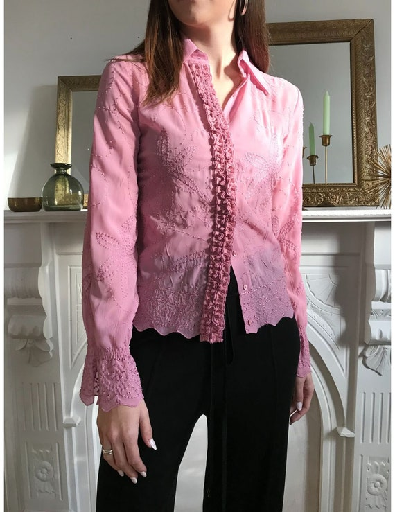 Vintage Pink Lace Blouse made in France - Floral e