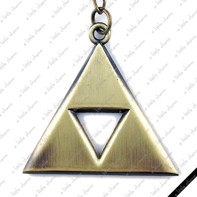 6e8c3f465b552 Legend of Zelda ~ Antique Bronze Triforce Pendant Key Chain