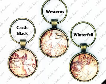 Game of Thrones ~ Westeros, Castle Black, Winterfell Map Bronze Key Fob
