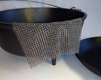 Cast Iron Scrubber -- Stainless Steel Chainmail for Cleaning Cast Iron