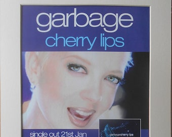 GARBAGE Alternative Rock Band, Shirley Manson, Butch Vig, Cherry Lips 2002 Original Vintage Music Press Poster Type Advert In A Mount