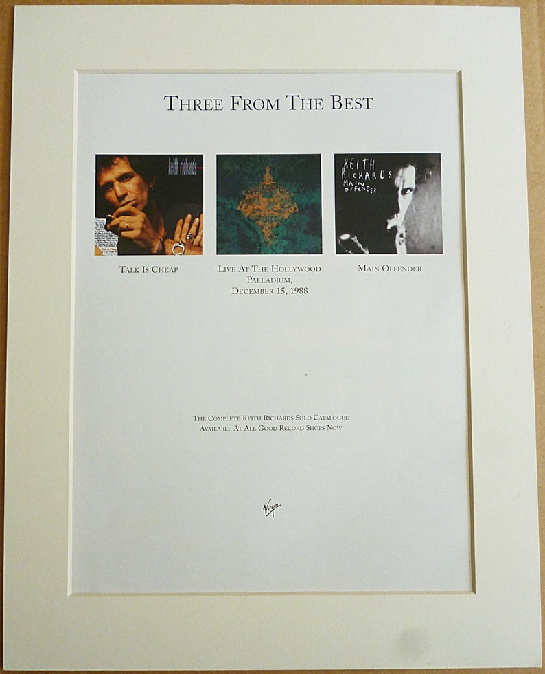 KEITH RICHARDS Of The Rolling Stones, Complete Solo Album Catalogue 1992  Original Vintage Music Press Poster Type Advert In A Mount