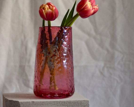 Medium Ruby 'Nailed it' Vase #004