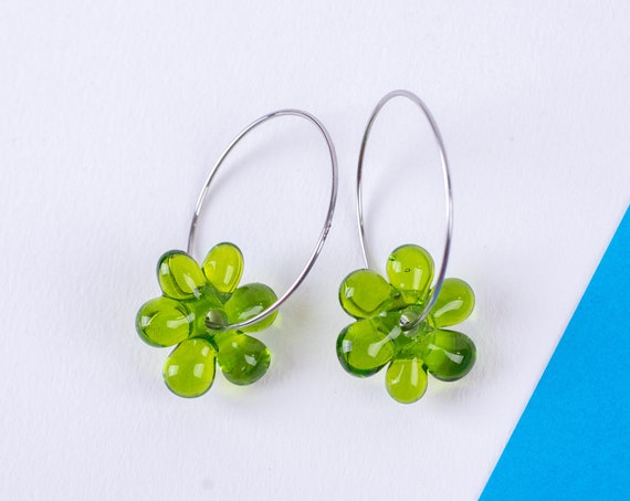 YODAN Lime Green glass JELLY HOOPS