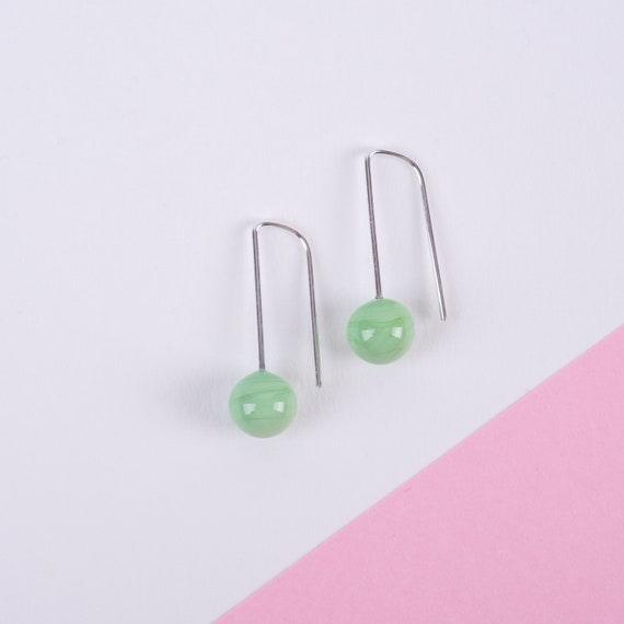 YODAN Mint Green glass DOT DROPS