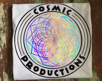 GeoLotus Holographic sacred geometry - Cotton Tank or T-shirts - Psychedelic trippy festival top