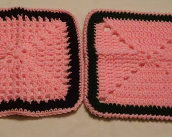 Crocheted Dishcloths Pink One With Black Border and One With Green Border 100 Per Cent Acrylic Yarn