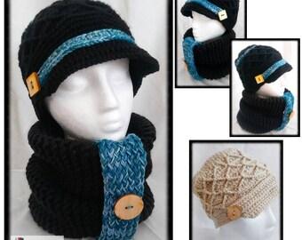 Chapeau casquette au crochet,tuque et snood hiver,bonnet cache-cou en  laine,ensemble foulard chaud,produit québécois, idéal pour cadeau 341db6d4a4c