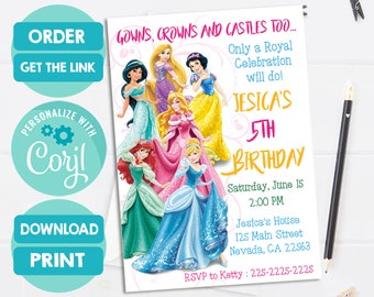 disney princess invitation disney princess birthday invitation princess invitation princess birthday pdf and jpeg corjl21mirrorgirls