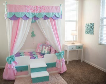 Mermaid Bed, Mermaid Canopy Bed, Girls Bed, Toddler, Twin Or Full, Mermaid  Bedding, Canopy Top, Personalized Step, Princess Bed, Pink Bed