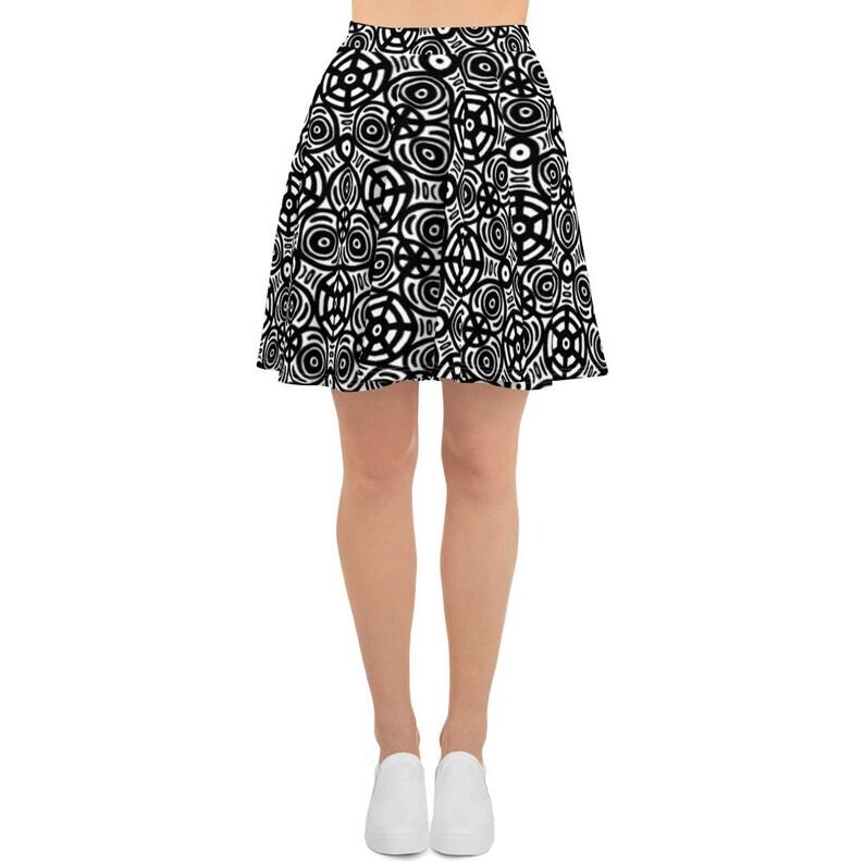 c4b7c7e60 Kaleidoscope Print Skater Skirt in Black and White | Etsy