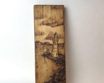 Lighthouse Wood Burning Art