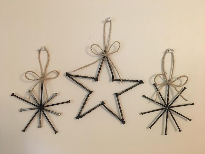 Welded Metal Art Christmas Ornaments Star Snowflake Set Of 3