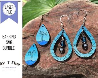 Leather and Wood Earring Bundle SVG, Palm Tree Earrings, Mosaic Tear Drop Design, Glowforge Files, Laser Cut File for Painted Earrings,