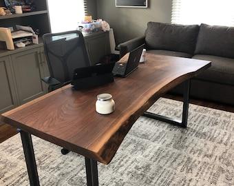 Live edge walnut desk. Rustic, transitional, modern, steampunk, industrial