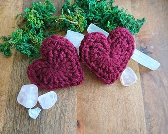 Lavender Heart Pillow-- Hand crocheted, filled with lavender flowers, 2 PACK for sharing the love!