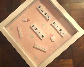 Baby Girl Scrabble Art Box Frame