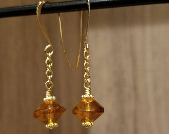 Gold Plated, Glass Amber Faceted Saucer, Drop Earring