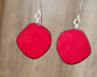 Silver & Czech Red Glass Drop Earrings