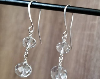 Silver Plated, Double Crystal Glass Drop Earring