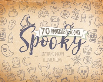 Halloween Icons - Doodle Clipart. 70 Adorable Hand Drawn Spooky Line Art. Halloween Icon Pack.