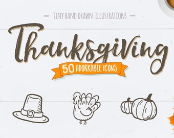 Thanksgiving Icons - Doodle Clipart. 50 Adorable Hand Drawn Thanksgiving Line Art. Thanksgiving Icon Pack.