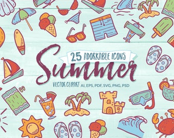 Summer Icons - Doodle Clipart. 25 Adorable Hand Drawn Summer Line Art. Icon Pack Bundle. Planner Printable Stickers.