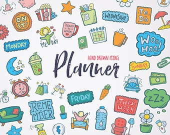 Planner Icons - Doodle Clipart Scrapbook and Planner Printable Stickers