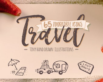 Travel Icons - Doodle Clipart. 65 Adorable Hand Drawn Travel Line Art. Travel Icon Pack.
