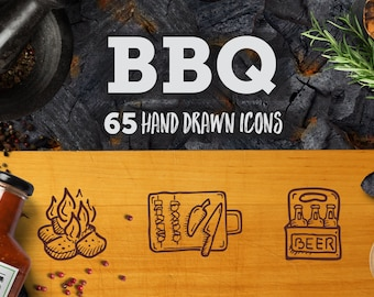 BBQ Icons - Doodle Clipart. 65 Adorable Hand Drawn Cook Out Line Art. Barbecue Icon Pack.