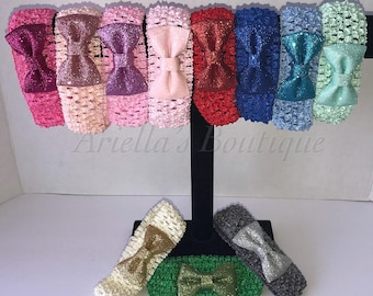 Sequin bow on crochet headbands