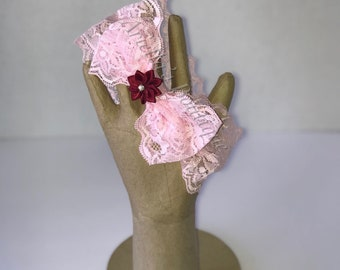 Pink lace bow with small flower headband
