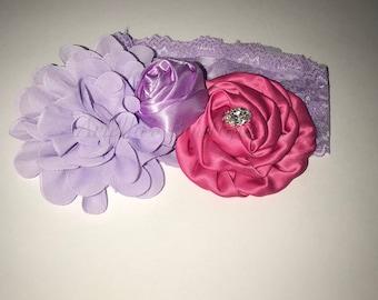 Lace Custom made purple and magenta headband with rhinestone