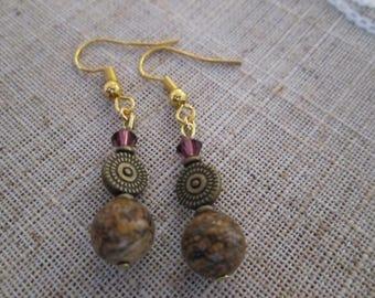 Brown Jasper Bead Earrings