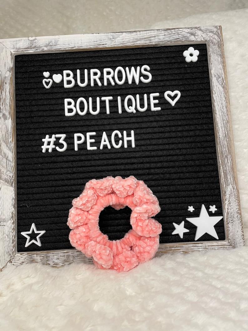 Peach Blue Yellow Scrunchies Assorted Colors \u2014 Baby Velvet Hair Scrunchies \u2014 Crochet Velvet Hair Scrunchie \u2014 Handmade Mint Pink
