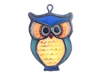Owl Necklace, Stained Glass, Woman Fashion, Owl Pendant, Glass Accessory, Glass Jewelry, Lover Gift, Women Gift, Girl Gift, Mother Gift