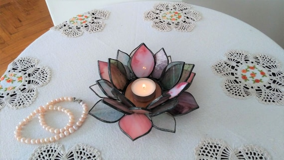 Stained Glass Candle Holder Lotus Flower Art Home Etsy
