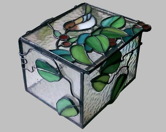 Jewelry Box, Stained Glass Box, Home Decoration, Sparrow Glass Art, Living Room Decor, Bedroom Decor, Desktop Box, Amazing Lover Gift
