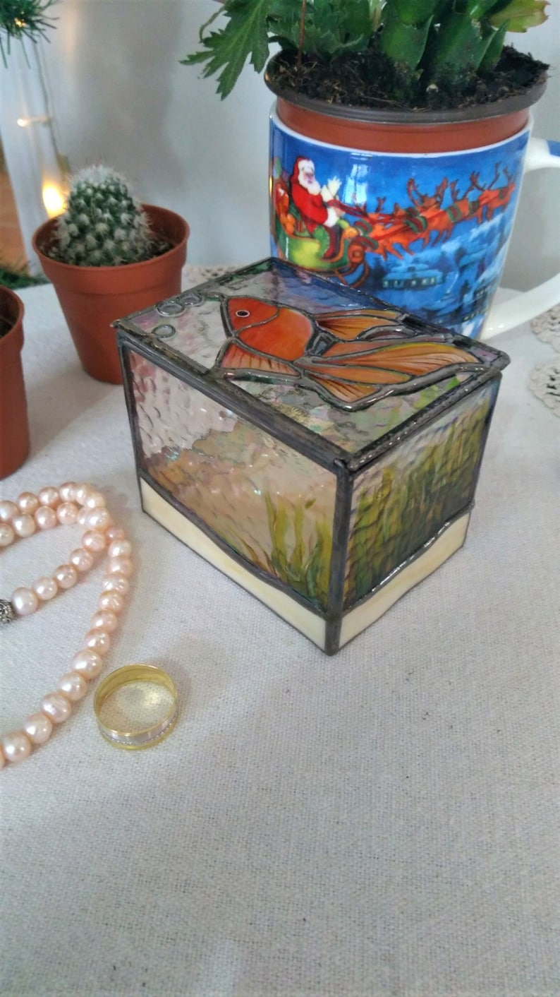 Engagement Ring Box Ring Bearer Box Glass Art Bride Groom Gift Bedroom Decor Gold Fish Jewelry Box Stained Glass Wedding Ring Box