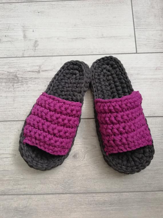 pantoufles T mod Crochet Crochet fil fil femmes coton Chunky Shirt chaussons chausson chaussures motif chaussons Pnw1xqBR4