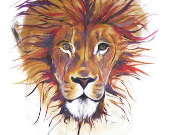 The Lion: Print of Original Oil Painting on Canvas
