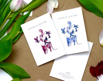 You Bring out the Bez in Me - Boy / Girl - Valentines - Birthday - Manchester | Happy Mondays | Madchester | Recycled Greetings Card