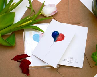 Red/Blue Love Balloon - Boy / Girl - Valentines Day Card - Manchester | Heart | Recycled Greetings Card