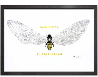 Bee Love - Manchester Bee ft Tony Walsh's Poem - This Is The Place - Charity Print