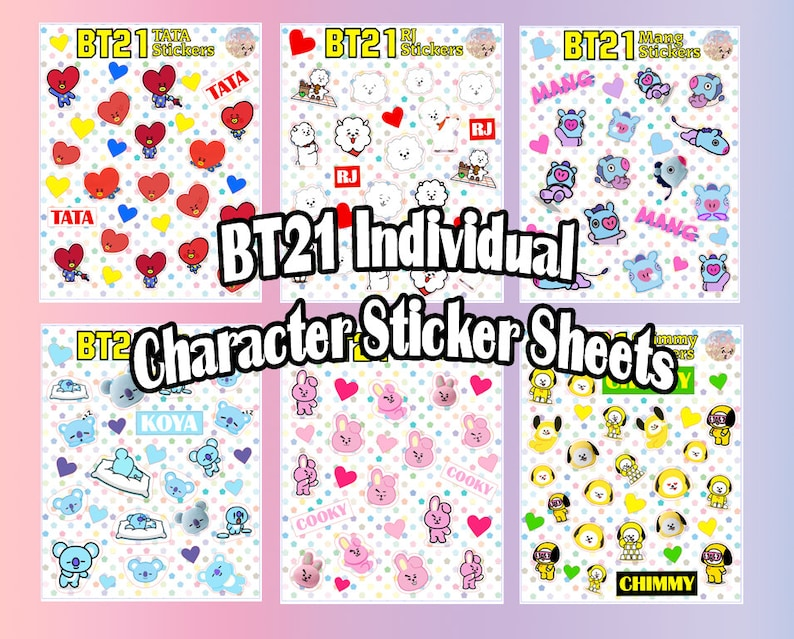 BTS BT21 Individual Character Sticker Sheet   K-pop Cute Face Cartoon Emoji  Bangtan Army Plushie Planner Journal Laptop Decorative Phone