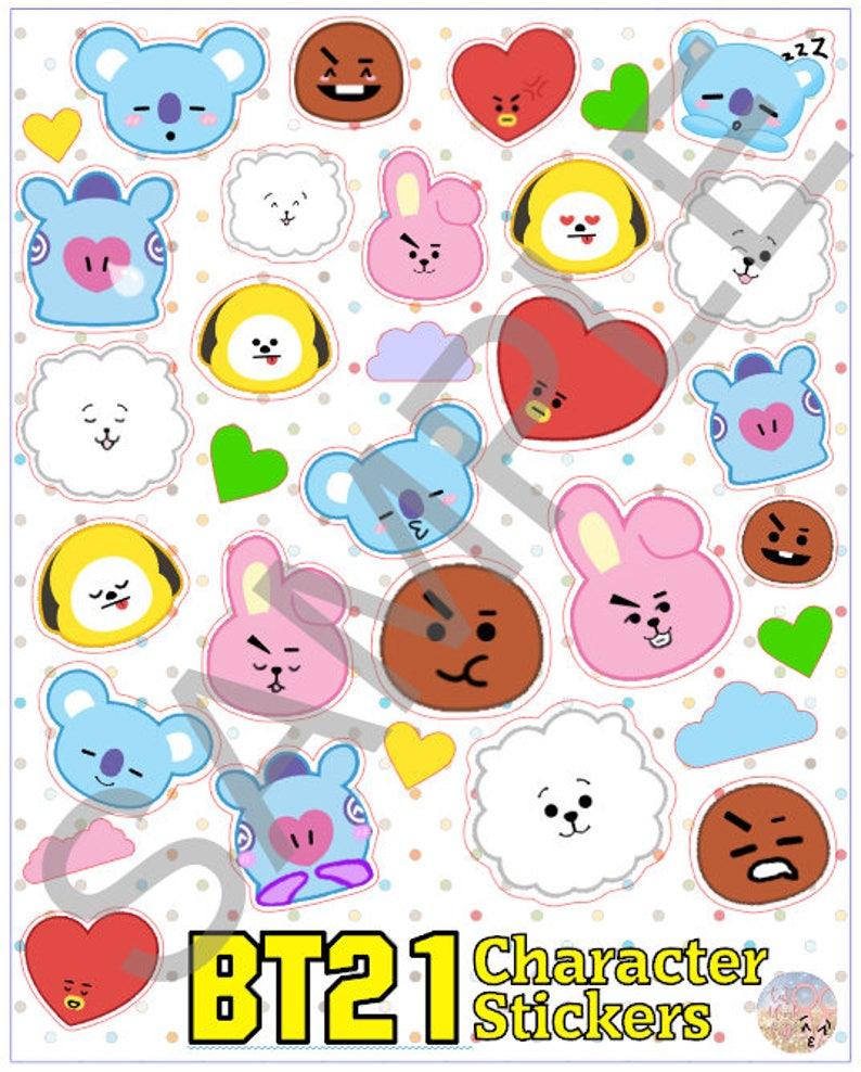 BTS BT21 Sticker Sheet | K-pop Cute Face Cartoon Emoji Korean Bangtan Army  Plushie Planner Bujo Journal Laptop Decorative Phone case deco