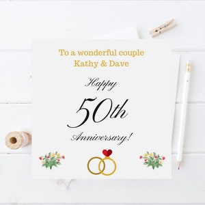 Golden wedding cards etsy personalised card golden 50th wedding anniversary card congratulations greetings card mum dad any wording date personalized handmade card m4hsunfo