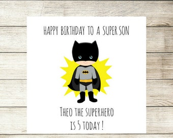 Boys Birthday Card Personalised Batman Superhero Son Nephew Any Age Name Wording Handmade Custom