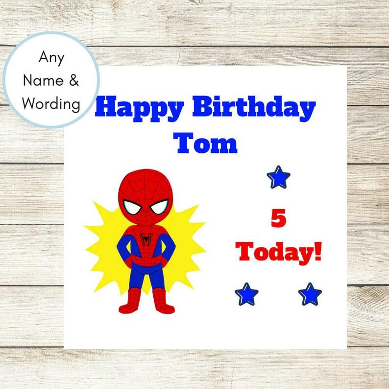 Spiderman Birthday Card Personalised