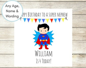 1st Birthday Card, Personalised Birthday Card, Superhero Card, Superman Birthday Card, Son Birthday Card, 3rd Birthday, Nephew Any Wording